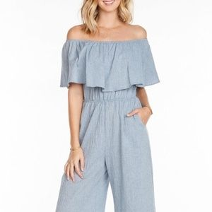 Everly Chambray Off-Shoulder Jumpsuit